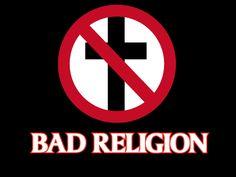 """Logotipo de Bad Religion, que puede causar el rechazo por su simbología anti religiosa con una cruz de color negro con una señal de prohibición de color rojo sobre ella, la misma fue ideada sólo para """"joder a sus padres"""" cuando tenían quince años, según cuenta su guitarrista Brett Gurewitz, en el documental """"Along the Way""""."""