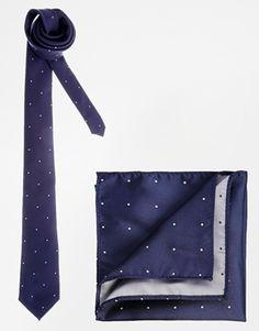 Enlarge ASOS Polka Dot Tie And Pocket Square Set