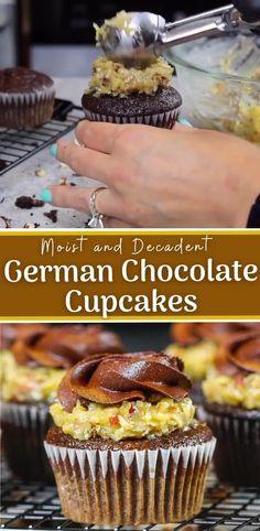 German Chocolate Cupcakes, Chocolate Cupcakes Filled, Chocolate Filling, Decadent Chocolate, Simple Chocolate Frosting Recipe, Chocolate Cupcake Recipes, Chocolate Raspberry Cupcakes, Salted Caramel Cupcakes, Blueberry Cupcakes