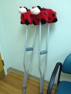 Baby pillow pets make great cushions for crutches!