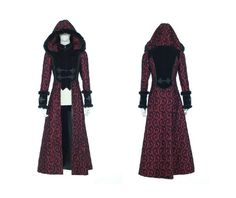 Steampunk floral woolen overcoat red coats 6