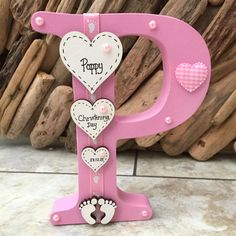 Details about Personalised Freestanding Wooden Letter New Baby Girl Boy Christening Keepsake - Wood Letters Christening Gifts For Girls, Christening Decorations, Christening Frames, Baby Boy Christening, Wooden Letter Crafts, Freestanding Wooden Letters, Decorative Wooden Letters, Hobbies For Girls, Baby Letters