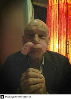 Funny pictures about Sir Patrick Stewart and his candyfloss mustache. Oh, and cool pics about Sir Patrick Stewart and his candyfloss mustache. Also, Sir Patrick Stewart and his candyfloss mustache. Patrick Stewart, Nerd Love, Raining Men, Thats The Way, The Villain, Moustache, Portrait, Star Trek, Make Me Smile