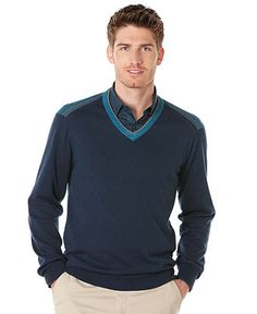 Perry Ellis Sweater, Long Sleeve V Neck Sweater - Mens Sweaters - Macy's