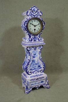 Antique Holland Dutch Delft Blue & White Pottery Miniature Grandfather Clock Nr