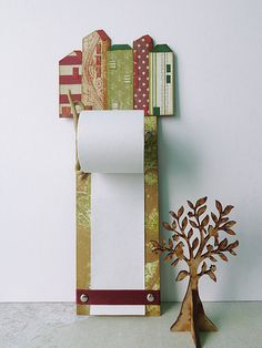 Hanging notepad with block of houses. Home kitchen by InkAndFlower