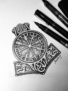 Tattoo Thor, Thor Hammer Tattoo, Tattoo Bein, Viking Compass Tattoo, Viking Tattoo Sleeve, Viking Tattoo Symbol, Viking Tribal Tattoos, Viking Tattoo Design, Buddha Tattoos