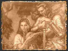 Esta es una foto que muestra La Malinche con Hernan Cortes, un conquistador y el lider de el conquistado de Mexico
