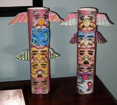 Native American - Totem Pole Craft Scotts Foresman - Pushing up the Sky