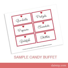 Valentine Candy Buffet Labels Printable Template  DIY by daintzy, $1.99