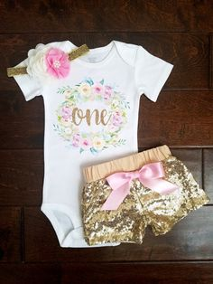 First Birthday Outfit Pink And Gold Floral Wreath