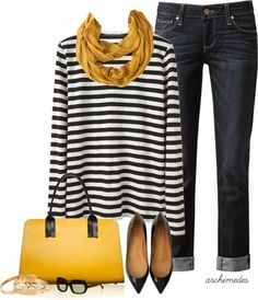 Casual Outfits | Mustard  Proenza Schouler shirt, PAIGE DENIM jeans, Flat Shoes, Marni bag, mustard Scarf  by archimedes16