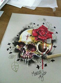 Skull and Rose tattoo sketch