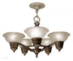 Antique Art Deco 5 Light Chandelier with Original Shades   Modernism