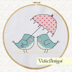 Blue+Birds+Umbrella+Cross+Stitch+Pattern+by+VickieDesigns+on+Etsy,+$3.00