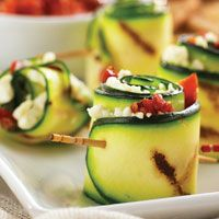 Grilled Zucchini Roll-up Appetizers (yellow squash, zucchini, hummus, roasted red peppers and a toothpick. I veganized this. GF/SF/NF/CF/YF/OF/vinegar-free/sugar-free/oat-free