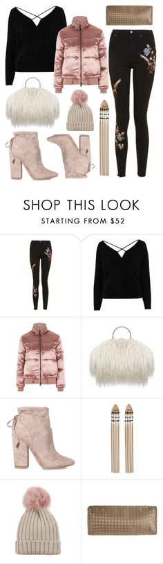 """""""💅🏽"""" by fiovasquez ❤ liked on Polyvore featuring Topshop, River Island, Kendall + Kylie, Jocelyn, Dian Austin Couture Home, outfit, fashionset and pompombeanies"""