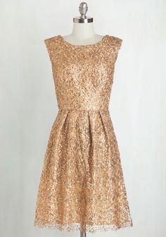 Fun One Like You Dress in Gold. Tonight, youre pairing the delicate lace and dazzling sequins of this gilded dress with your biggest smile and your best dance moves! #gold #prom #wedding #bridesmaid #modcloth