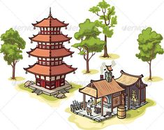 Japanese Pagoda and Medieval Blacksmith   #GraphicRiver         There are isolated Japanese traditional pagoda, the medieval blacksmith and some illustrated trees.  	 Includes: the Illustrator 8.0 editable vector EPS file and the Hi-res JPG .  	 Please rate it if you like it!     Created: 2October12 GraphicsFilesIncluded: JPGImage #VectorEPS Layered: No MinimumAdobeCSVersion: CS Tags: ancient #architecture #asia #blacksmith #buddhist #building #cartoon #classic #east #farrier #forge…