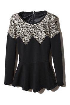 Flouncing Sequins Embellished Black Pullover  $84.99