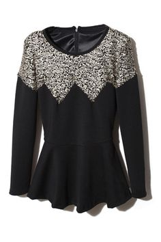 Flouncing Sequins Embellished Black Blouse. Description Black pullover,featuring scoop neck,which is embelished by wider sequins qround,long sleeves,zippered on back collar,waisted design,flouncing hem finish. Fabric Dacron and Cotton. Washing 40 degree machine wash , low iron. #Romwe