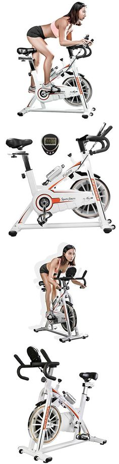 Indoor Spin Bike Cycle Trainer Cycling Bike with LCD Monitor and Shock Absorption (White/Orange)