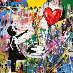Brainwash - Balloon Girl x in is an original mixed media on paper. Brainwash art for sale at Denis Bloch Fine Art Gallery. Mr Brainwash, Dental Art, Graffiti Wallpaper, Street Art Graffiti, Craft Activities For Kids, Fine Art Gallery, Art For Sale, Pop Art, Balloons