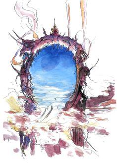 Final Fantasy V - Atomos Concept Art - Yoshitaka Amano