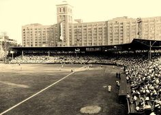Ponce De Leon Ball Park and the Atlanta Crackers with Sears Roebuck in the background.