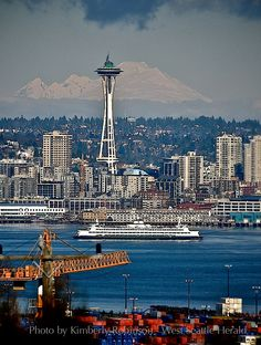 View from West Seattle of the Space Needle and Mt. Baker in the distance.