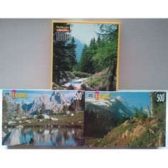 RoseArt Jigsaw Puzzle Set of 3 - Mont Blanc French Alps 1000pc - Cascade Canyon 500pc - Mt Jefferson 500pc || Available for sale via the pin's link.