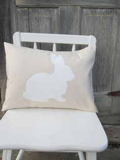 Bunny Rabbit Pillow Cover  Easter  by CedarStreetCreations on Etsy, $22.00