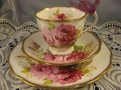 American Rose ~ TEA CUP, SAUCER & LUNCH PLATE ~ TRIO by Royal Albert