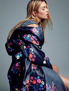 Stella Maxwell wears embroidered coat Stella Maxwell models Tanya Taylor jacket and Kenzo dress for ELLE Brazil Magazine August 2016 issue