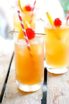 The Original Hurricane. Serve 1: 2oz dark rum, 1oz passion fruit syrup, 1oz fresh lemon juice. Combine everything in a shaker over ice. Shake & strain into an ice-filled glass. Garnish with orange slice & cherry. Serve 12: Fifth dark rum, 1.5 cups passion fruit juice, 1.5 cups fresh lemon juice, 1 cup ice. Allow to sit for at least 15 mins before serving. Found on The Kitchn.