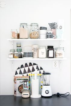I love shelves in a kitchen