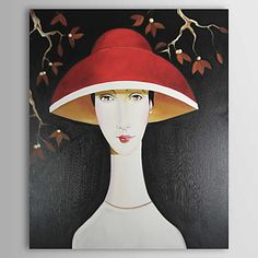 A Lady with a Red Hat Oil Painting Free Shipping Modern Oil Painting, Modern Paintings, Oil Paintings, Danny Mcbride, Painting People, Online Painting, Red Hats, Portrait, Figurative Art