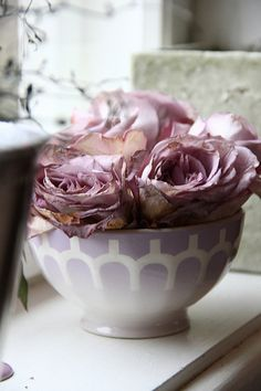 X Lilac Roses in Pretty Bowl #dried flowers #decorative