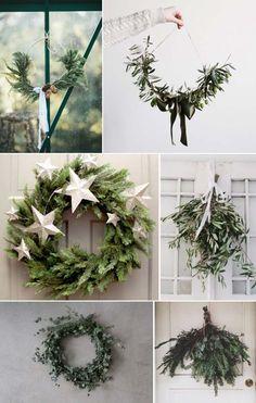 couronne de Noël naturelle à faire soi-même en branches vertes et étoiles décoratives