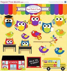 75% OFF school owls birds clipart digital clip art - School Hoots and Tweets Clipart on Etsy, $1.25