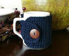 Cotton Coffee Mug Cozy Coffee Cozy in Navy Navy Blue by NandysNook