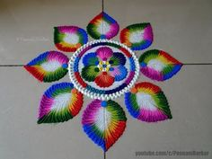 Bright and colorful rangoli for Holi Rangoli Designs Simple Diwali, Rangoli Designs Latest, Rangoli Designs Flower, Latest Rangoli, Free Hand Rangoli Design, Rangoli Border Designs, Small Rangoli Design, Rangoli Patterns, Rangoli Ideas