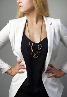 Emily necklace // modern, minimal long bronze chain link necklace on leather cord