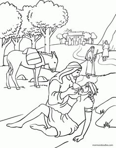 Chic Idea The Good Samaritan Coloring Page Mormon Doodles Church Stuff - coloring pages Bible Story Crafts, Bible Stories For Kids, Bible School Crafts, Bible Crafts For Kids, Preschool Bible, Bible Activities, Good Samaritan Bible Story, Good Samaritan Craft, Jesus Coloring Pages