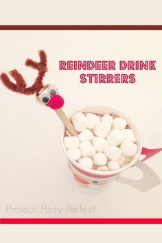 Reindeer Drink Stirrers Party Craft Idea for Kids