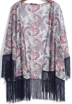 Apricot Long Sleeve Paisley Print With Tassel Blouse pictures
