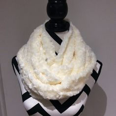 Ivory Faux Fur Minky Infinity Scarf by SissyandTodo on Etsy