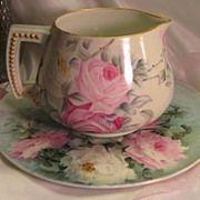 SOLD PINK & WHITE TEA ROSES Antique Limoges France Jean Pouyat JP L Cider Pitcher c.1900 Hand