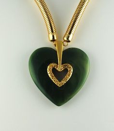 Vintage Heart Lanvin-Like Jade Epoxy Resin by ErikasCollectibles