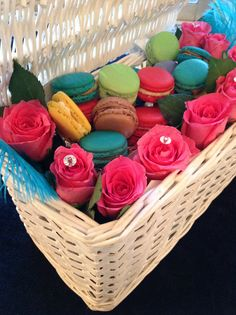 My Eid macaron display with a difference :) Eid Ideas, Vanilla Sugar, Laundry Basket, Macarons, Wicker, Display, Home Decor, Floor Space, Decoration Home